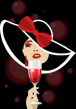 champagne celebration background lady glass icon bokeh backdrop