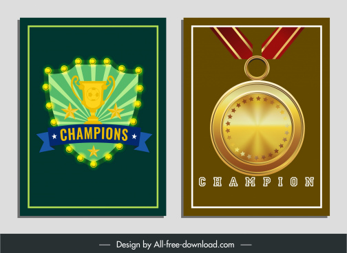 champion award templates shiny colorful shield medal shapes