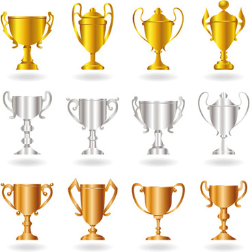 champion cup and medals design vector set