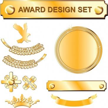 award design elements shiny golden symbols decor