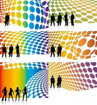 characters and 3d background vector silhouette