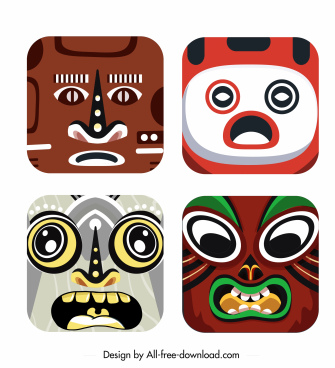 characters masks templates colorful square design emotional sketch