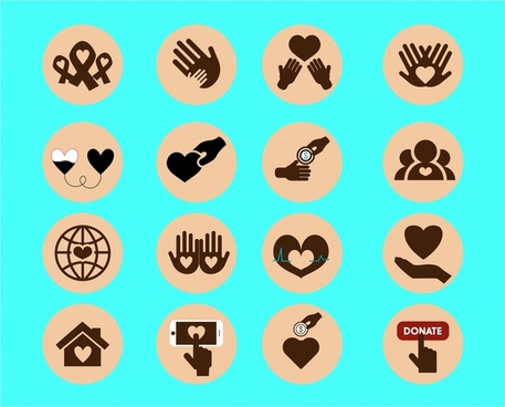 charity icons sets illustration with silhouette styles