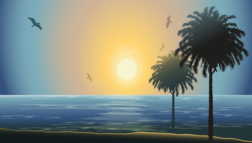 charming sea landscape design vector