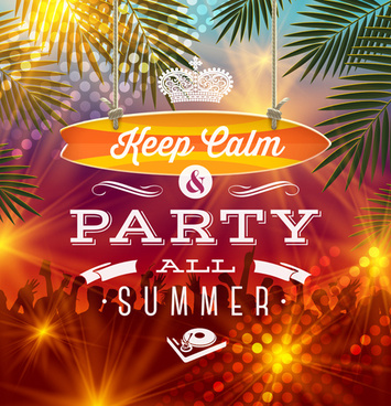 charming summer party poster template vectors
