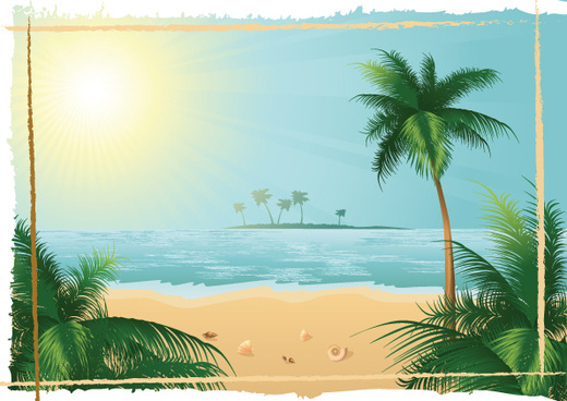 charming sun beach design vector background