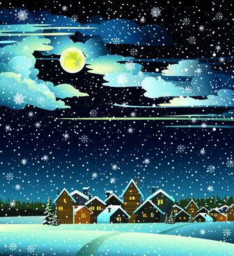 charming winter night landscapes design vector
