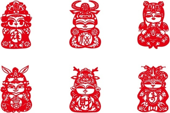 charmingly naive doll clip art of paper cutting