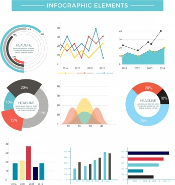 chart infographic design elements multicolored flat shapes
