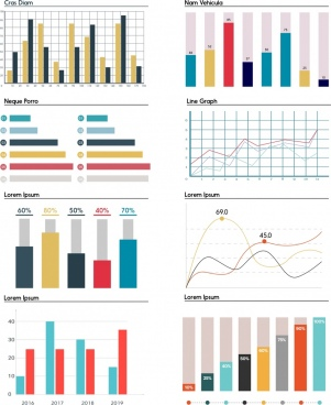 chart templates collection multicolored shapes flat design