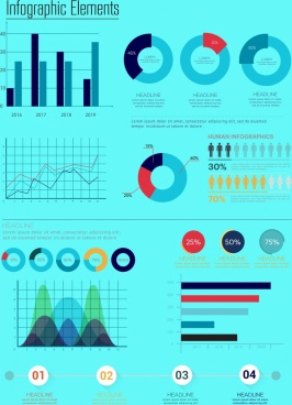 charts design elements bar round line design