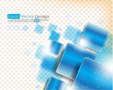 Geometric Background Blue Squares Ornament Design