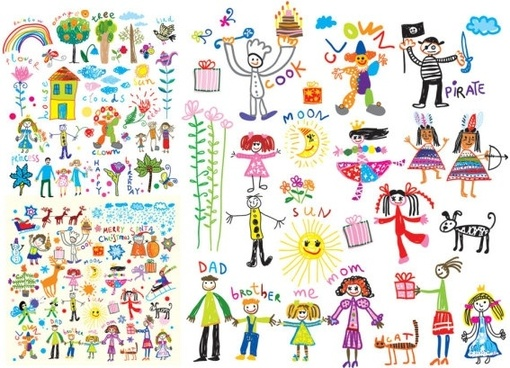 cheerful children clip art illustrations