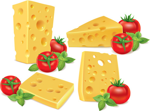 cheese with tomato vector