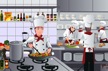 chef and cooking vector