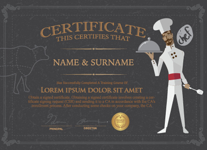 chef certificate template vector
