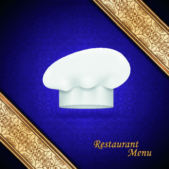 chef hat and restaurant menu cover design vector