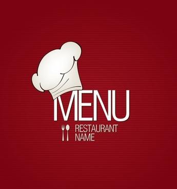 menu cover template flat classic red white decor