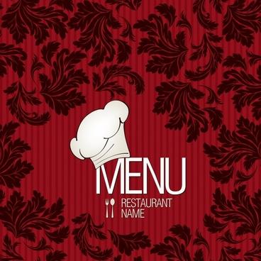menu cover template dark elegant leaves decor