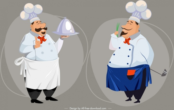 chef icons funny cartoon characters design