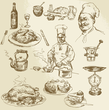 chef with cooking hand drawn vector