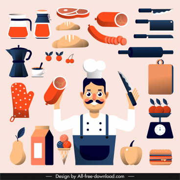 chef work design elements utensils man sketch
