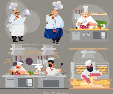 chef work icons cartoon characters colorful design