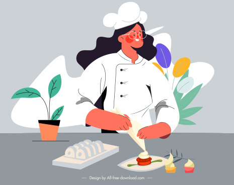 chef work painting woman preparing food cartoon sketch