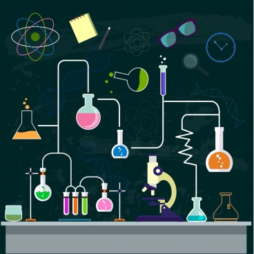 chemistry background experiment process decor lab tool icons