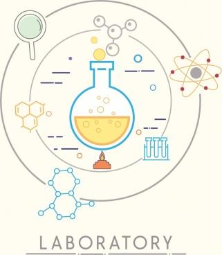 chemistry background flat circle design molecule icons decor