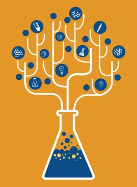 chemistry background flat tree ornament lab bottle icon