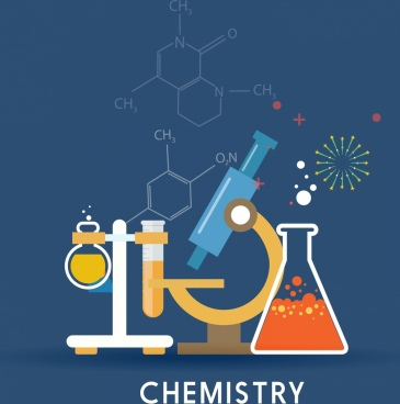 chemistry background lab tools icons molecule formulas ornament