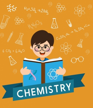 chemistry background researching human icon handdrawn decor