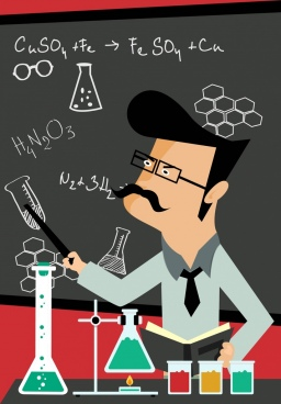 chemistry class background laboratory teacher icons cartoon design