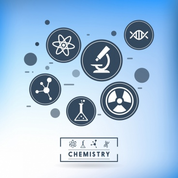 chemistry design elements flat circle icons