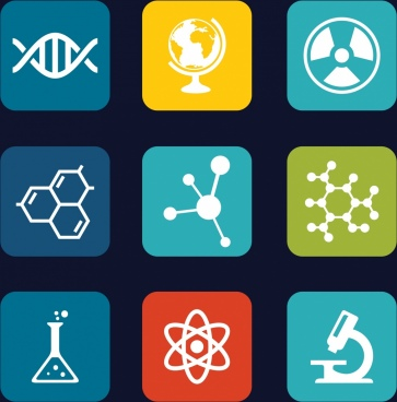 chemistry icons isolation various flat emblems