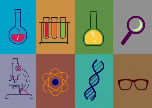 chemistry lab design elements various flat colored icons