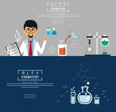 chemistry research banner webpage design lab symbol icons