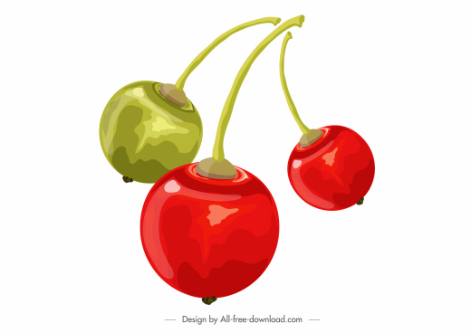 cherries food icon colored classic 3d sketch