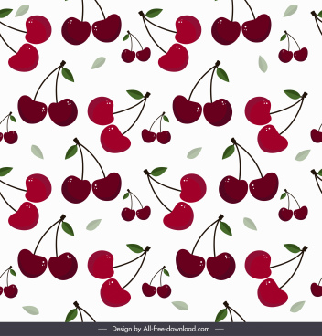cherries pattern colored modern flat sketch