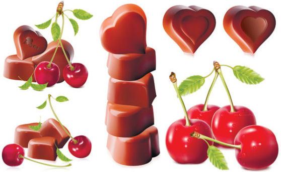 cherry and chocolate design vector