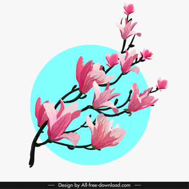 cherry blossom flora painting classical branch decor