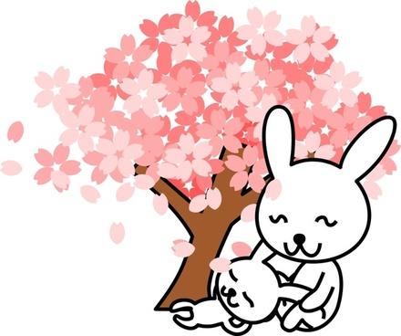 cherry blossoms rabbit