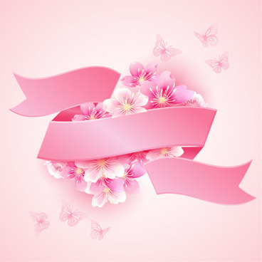 cherry blossoms with pink ribbon beautiful vector