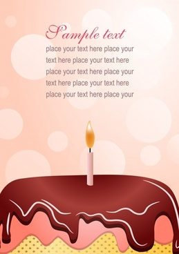 birthday background cream cake candle icons decor
