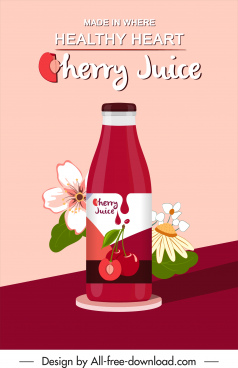 cherry juice advertising banner colorful flora decor