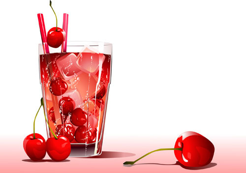cherry juice and glass cup vector