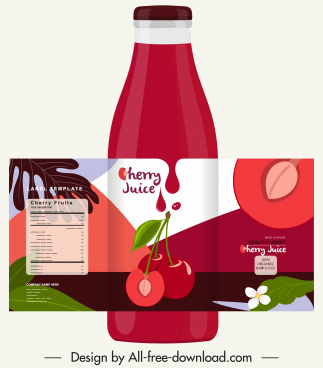 cherry juice bottle template classic red decor