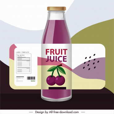 cherry juice bottle template shiny colored classic decor