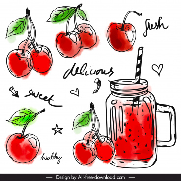 cherry juice design elements colored classic handdrawn sketch